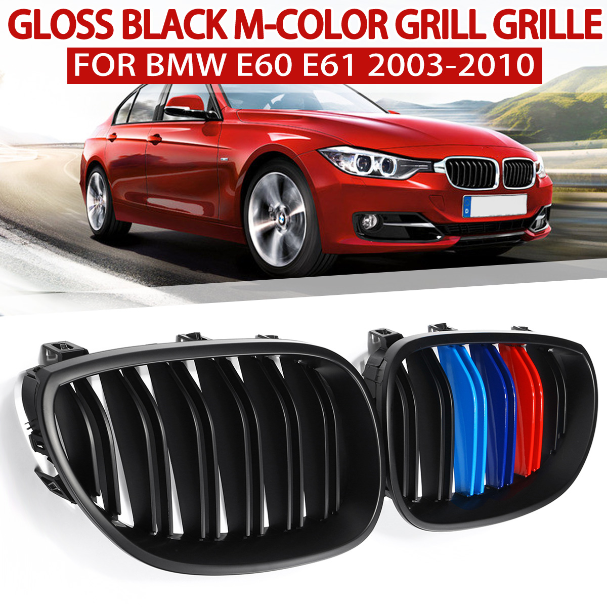Car Glossy Black M-Color Red Blue Green Color Front Kidney Grilles For <font><b>BMW</b></font> 5 series E60 <font><b>E61</b></font> 2003 2004 2005 2006 2007 2008 2009 image