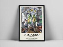 Affiche de peinture de L'Atelier de Picasso, impression d'exposition d'art, exposition d'art de musée, affiche de peinture de Studio de Picasso, musée d'art