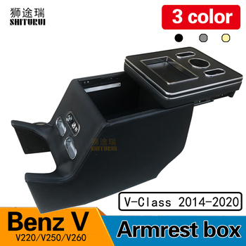 FOR Mercedes-Benz V-Class V220 V260 V250 W447 Armrest Storage Box Rear Handrail  Box Mobile Phone Charging USB Hold Hands Water w447 vito diamonds style front grille grill fit for mercedesmb v class abs black sport without sign v260 v250 look grills 16 19