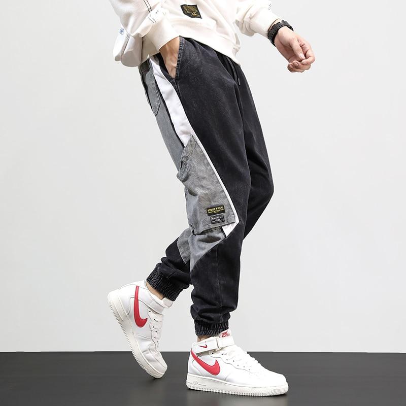 Fashion Streetwear Men Jeans Black Gray Color Loose Fit Spliced Designer Cargo Pants Harem Trousers Hip Hop Jeans Men Joggers