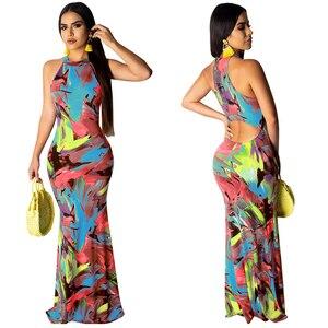 Image 4 - Zarif kadın Boho çiçek baskı Halter bahar ziyafet uzun elbise seksi Backless akşam parti elbiseler Casual vestidos