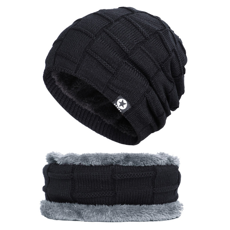 Men Women Winter Warm Crochet Knit Baggy Beanie Wool Skull Hat Ski Cap Head Scarf Set Neck Warmers Gaiters Skull Cap