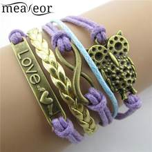 Women Letter Owl Digital Metal Bird Plastic Pearl Multi Layer Casual, Party Woven Casual Letter, Owl, Bracelets(China)