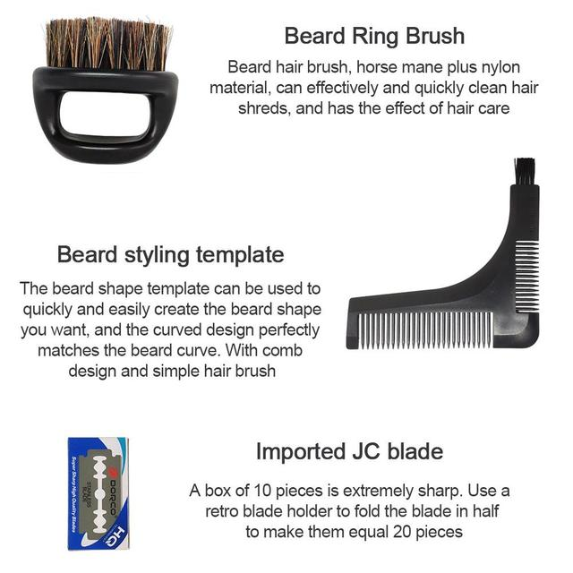 Men's Shaving Template Shaving Brush Beard Styling Comb Grooming Plate Manual Vintage Blade Holder Razor Beard Cleaning Brush 4