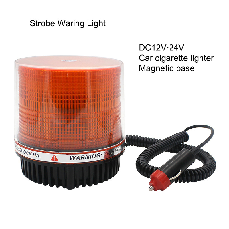 12V-24v Emergency Flash Strobe Lamp Car Rotating Traffic Safety Warning Lights School Lights Led Yellow Round Magnet Ceiling Box