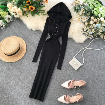 Vintage Slim Button Hooded Autumn Winter Bodycon Knit Sweater Midi Long Dress Party Women Casual Long Sleeve Sheath Vestidos