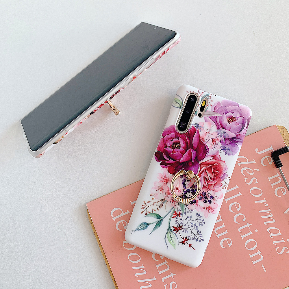 Vintage Banana Leaf Flower Phone Case For Samsung Galaxy S10e S10 S9 S8 Plus Note 10 With Finger Ring Soft Back Cover