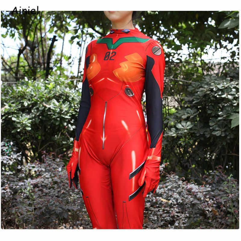 Ainiel anime eva asuka langley cosplay traje neon bodysuit terno zentai halloween macacões feminino crianças