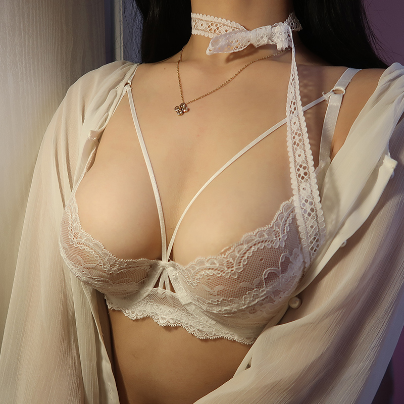Sexy Bra Set With Green Thin Belt Slim Underwear Transparent Thin Lace Large Size Small Bra