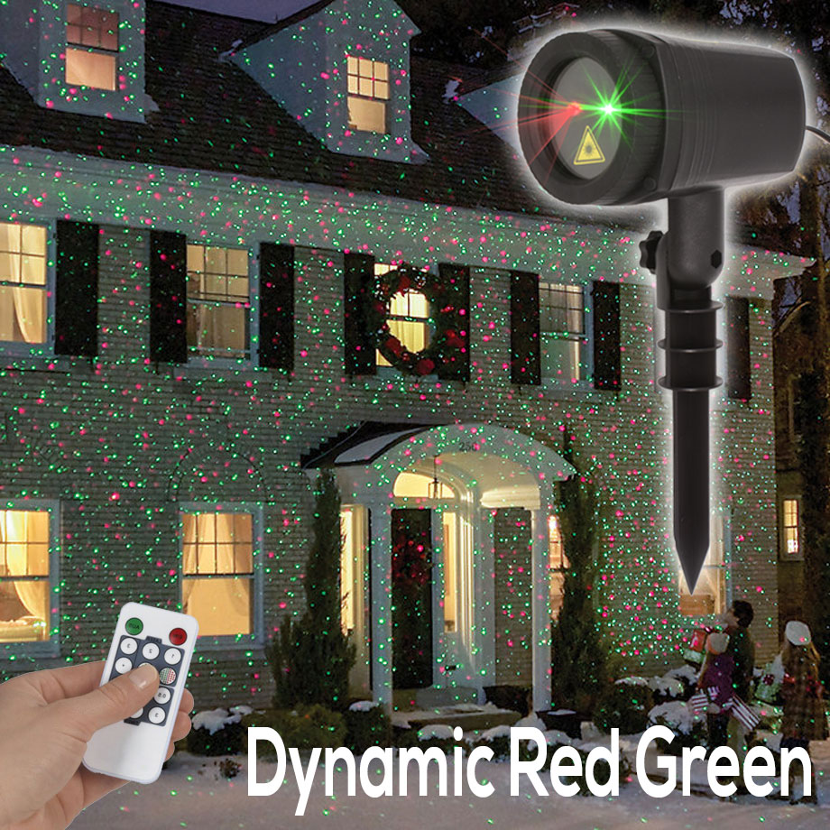 Outdoor Laser Lights Christmas Lawn Projector Holiday Decor With Remote Red Green Color Moving Effect Waterproof - 2