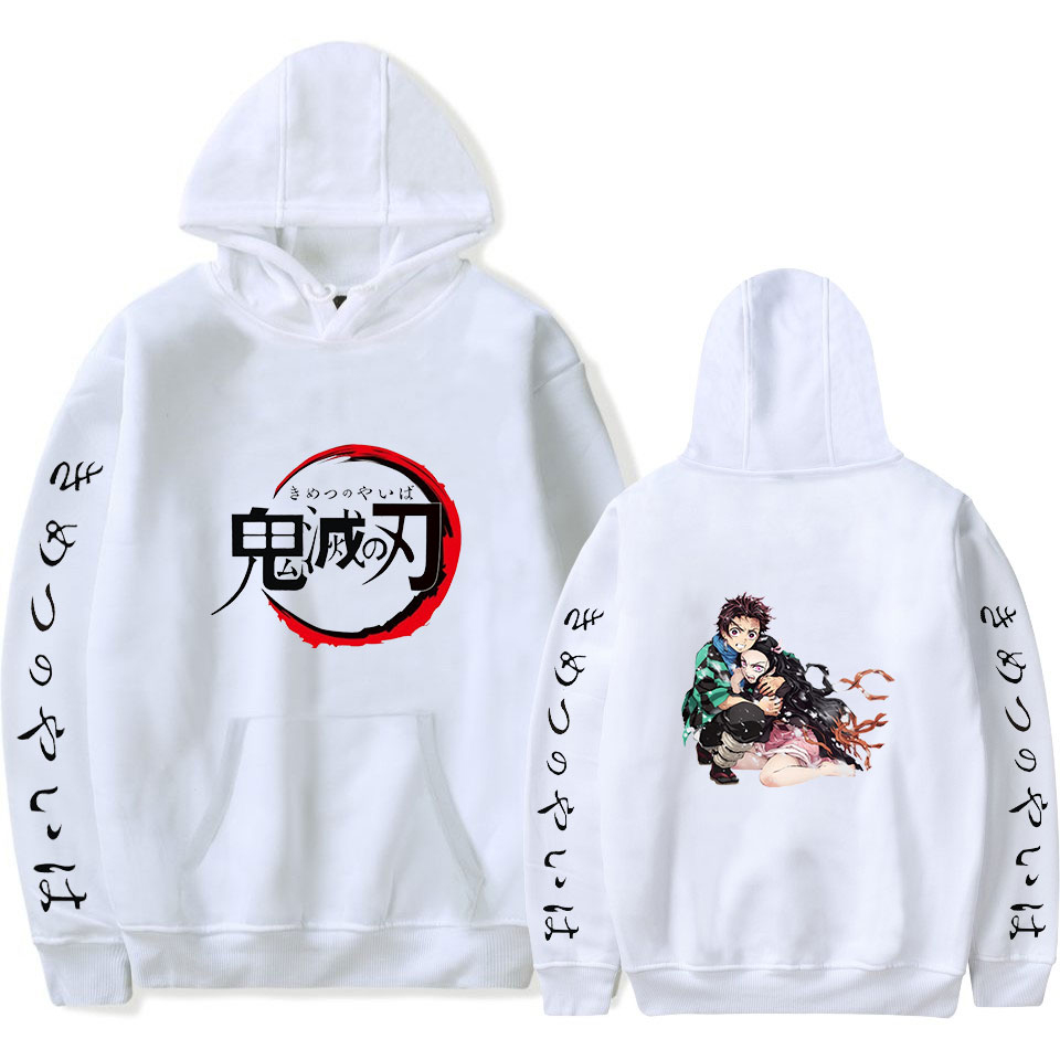 Demon Slayer: Kimetsu No Yaiba Hoodie Men/Women Fall Winter Fashion Casual Popular Hooded Sweatshirt Hot Sale Harajuku Top White