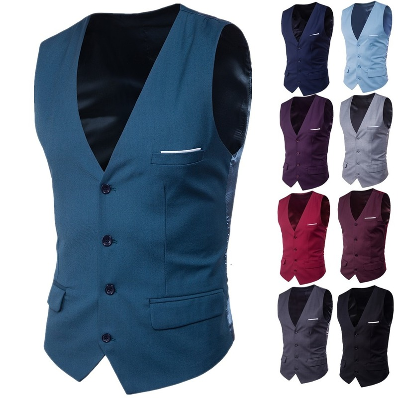 Vests Suit Men's Casual Single-Breasted Fit Business Male Fashion for Spring Autumn 9-Color