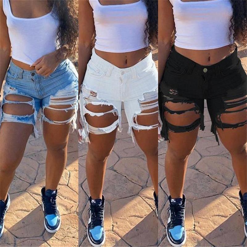 Hot sale women's summer ripped denim shorts fashion Internet celebrities shorts jeans plus size shorts S-5XL drop shipping 4