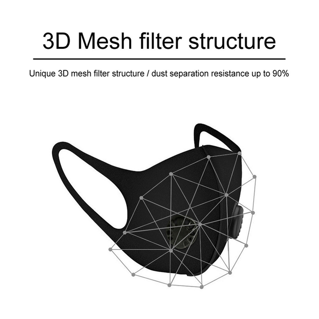 1 pc Breathable Air Purifying Face Mask Washable Black Health Mask with pads for Outdoor Running Cycling Reusable Anti-dust Mask 2