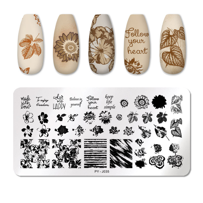 PICT YOU 12*6cm Nail Art Templates Stamping Plate Design Flower Animal Glass Temperature Lace Stamp Templates Plates Image 74