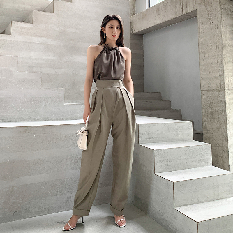Casual Women Pants 2019 Summer Autumn Fashion Female Loose Straight Slacks Pants Ladies Chain Long Trousers