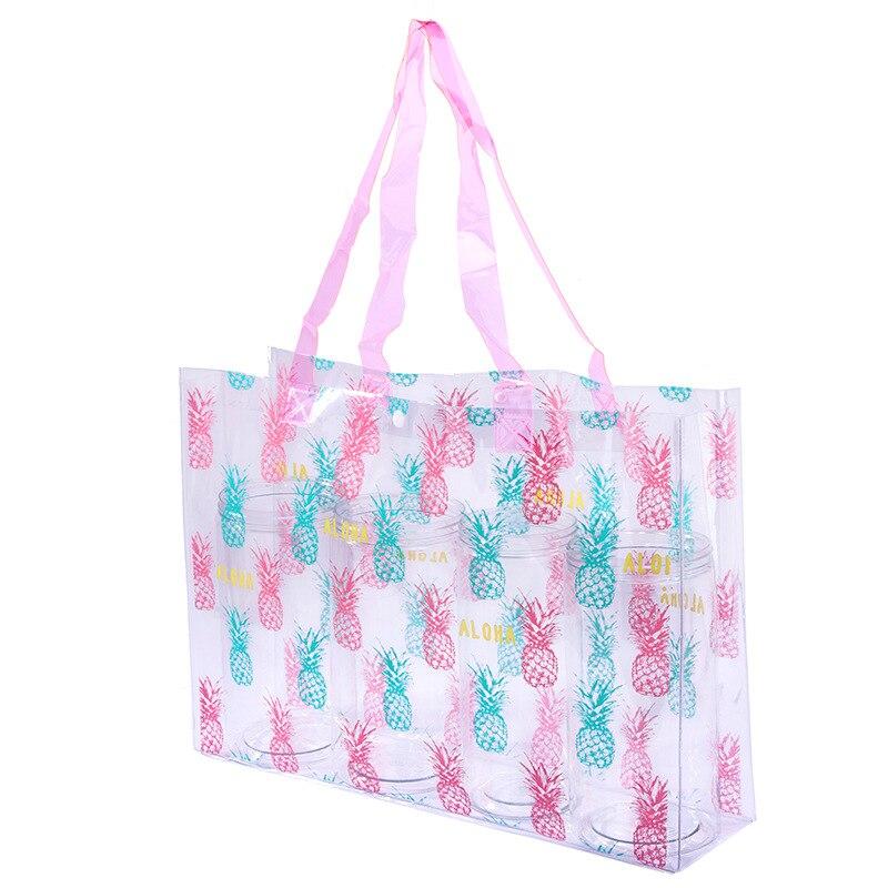 1pc Waterproof Swimming Bags Female PVC Transparent Sports Travel Storage Bag Large Capacity Shoes Bag Shoulder Beach Bag