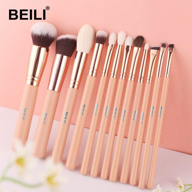 BEILI capelli di capra rosa fondotinta essenziale ombretto miscela evidenzia correttore 12 pezzi Set di pennelli per trucco puntale dorato rosa