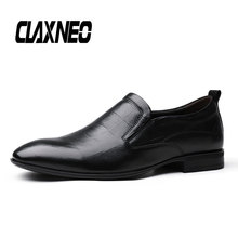Buy CLAXNEO Man Dress Shoes Genuine Leather Male Formal Shoe Oxfords Slipon Black Loafers Men Wedding Footwear Big Size directly from merchant!