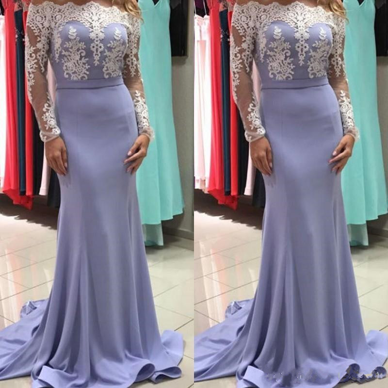 Elegant Satin Mermaid   Prom     Dress   with Lace Appliques Full Sleeves Zipper Back Custom Made Formal Party Evening Gowns Vestidos