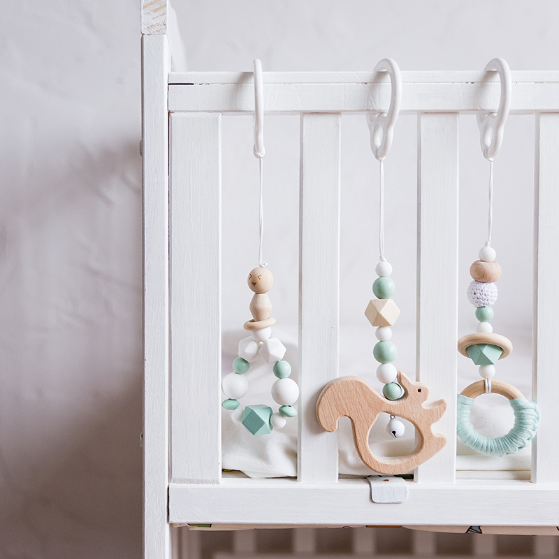 3Pcs/Set Baby Rattles Wooden Beads Pendant Crib Mobile Baby Toys Bed Hanging Decor Handmade Stroller Accessories Infant Products