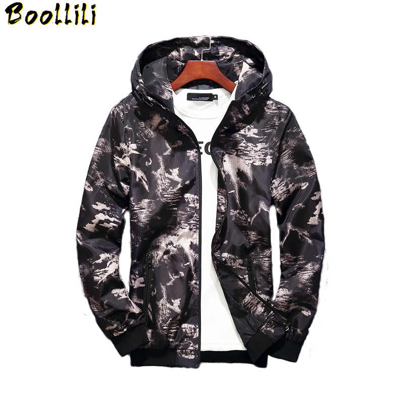 Boolili 2020 Spring Autumn Mens Casual Camouflage Hoodie Jacket Men Waterproof Clothes Men's Windbreaker Coat Male Outwear 5XL