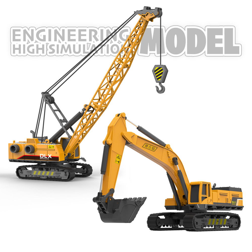 Construction Trucks Crane Excavator Toy 1:55 Diecast Engineering Vehicle Tractor Digger Children Car Model For Boys Gift