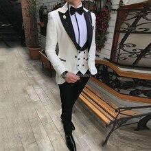 Men Suits Vest Pants Tuxedos Blazer Wedding-Suit Slim-Fit Groomsmen-Grey Lapel Business
