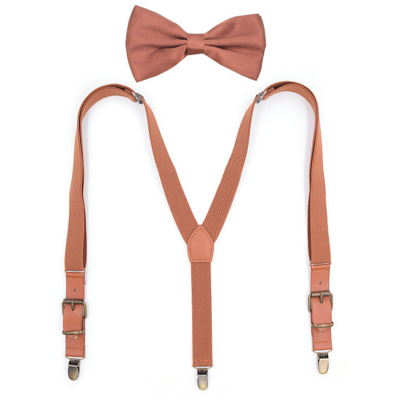 Stays 3 Clips Children Boy Girl Pants Trousers 2.5cm Gift Clip-on Y-Back Braces Bowtie Elastic Metal Head Suspenders Bow Tie Set