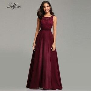 Image 4 - Noworoczne sukienki damskie długie 2020 seksowna linia bez rękawów O neck szyfonowa koronkowa letnia sukienka plażowa eleganckie burgundowe sukienki na przyjęcie