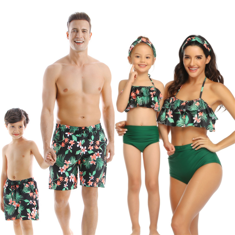 Matching Swimwear Bikini Couple Mom Beach-Shorts Mommy Daughter Summer Family And title=