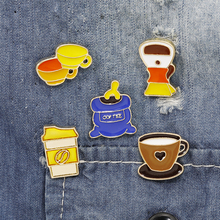 New Personality Retro Dripping Oil Coffee Machine Cup Pot Alloy Brooch Pins Fashion Jewelry wholesale
