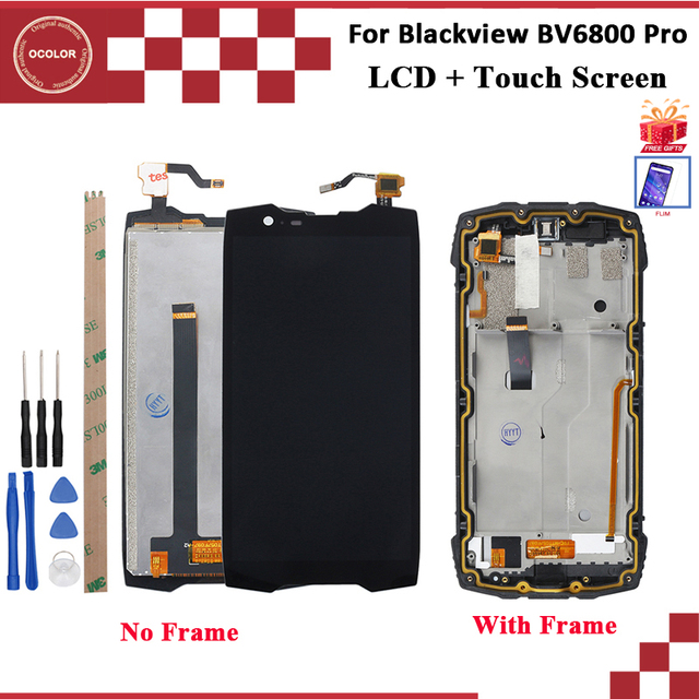 Ocolor Für Blackview BV6800 Pro LCD Display Und Touch Screen Mit Rahmen 100% Getestet Schwarz Mit Werkzeuge + Film Montage 5.7