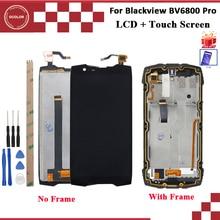 Ocolor para Blackview BV6800 Pro pantalla LCD y pantalla táctil con marco 100% probado negro con herramientas + montaje de película 5,7
