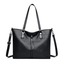 все цены на Women Shoulder Bag Female Handbag PU Leather Large Capacity Totes Large Messenger Bag Black luxury Shopping Hand Bags sac a main онлайн