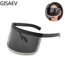 GISAEV Driving Glasses Woman Oversized Frame Diamond Cover Eye Sunglasses Siamese Lens Cover Face Windproof Sand Fashion Glasses cut out lens oversized metal square sunglasses