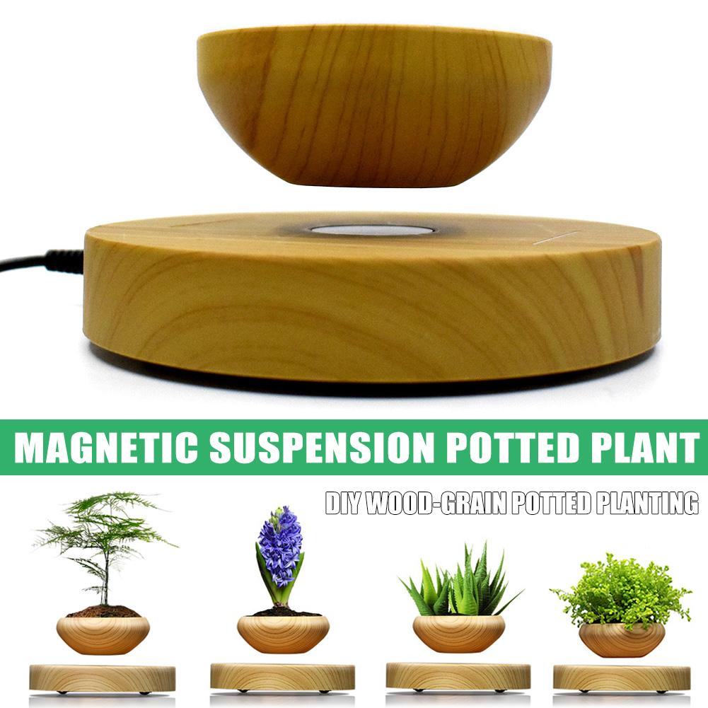 <font><b>Magnetic</b></font> Levitation Air Bonsai Suspension Levitating <font><b>Flower</b></font> <font><b>Pot</b></font> Plant LED Living Room Tabletop Decor RT99 image