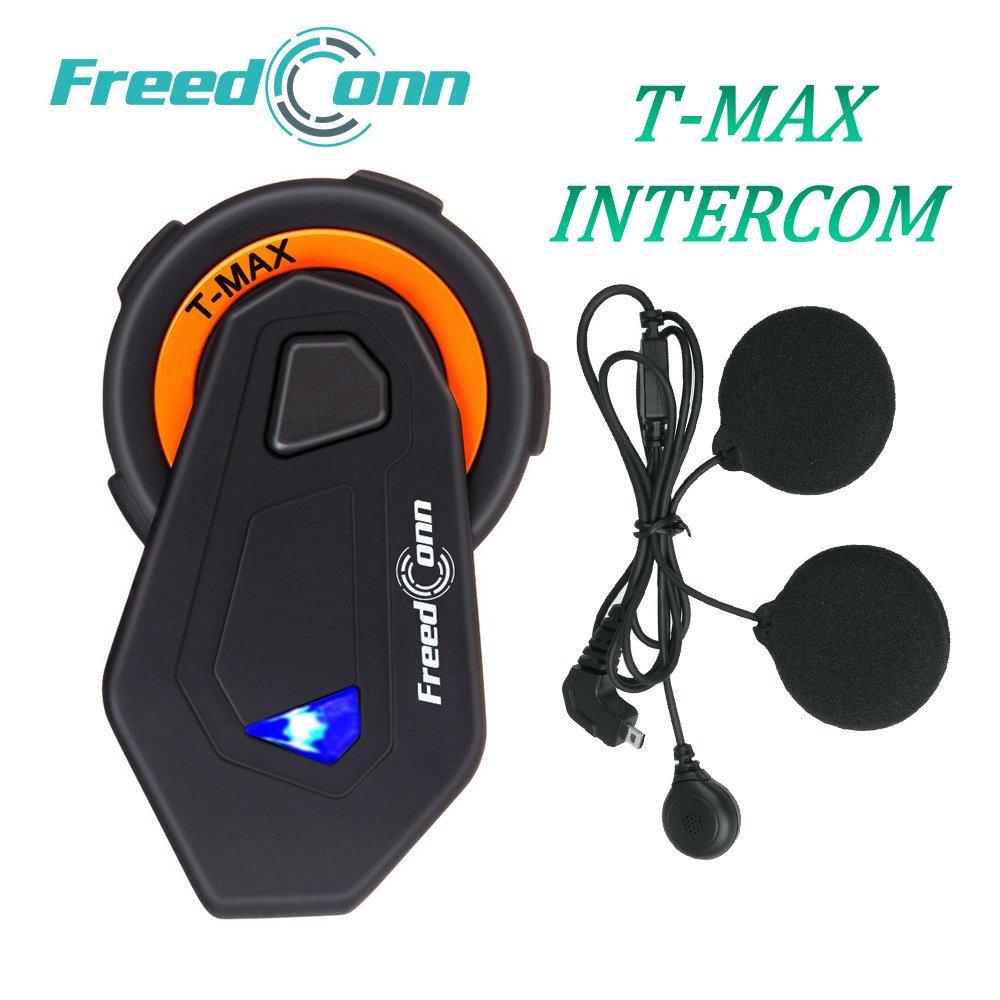 QPLOVE FreedConn T-MAX Motorcycle Intercom Helmet Bluetooth Microphone Interphone 6 Riders Talking Connection With Soft Earphone