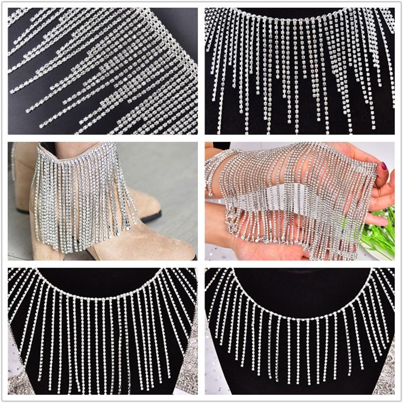 1 ярд Мода длинные кисточки Кристаллы Стразы отделкой на высоком каблуке 12 см Серебряный плотная алмаз бахрома металлической цепью Diy плать...