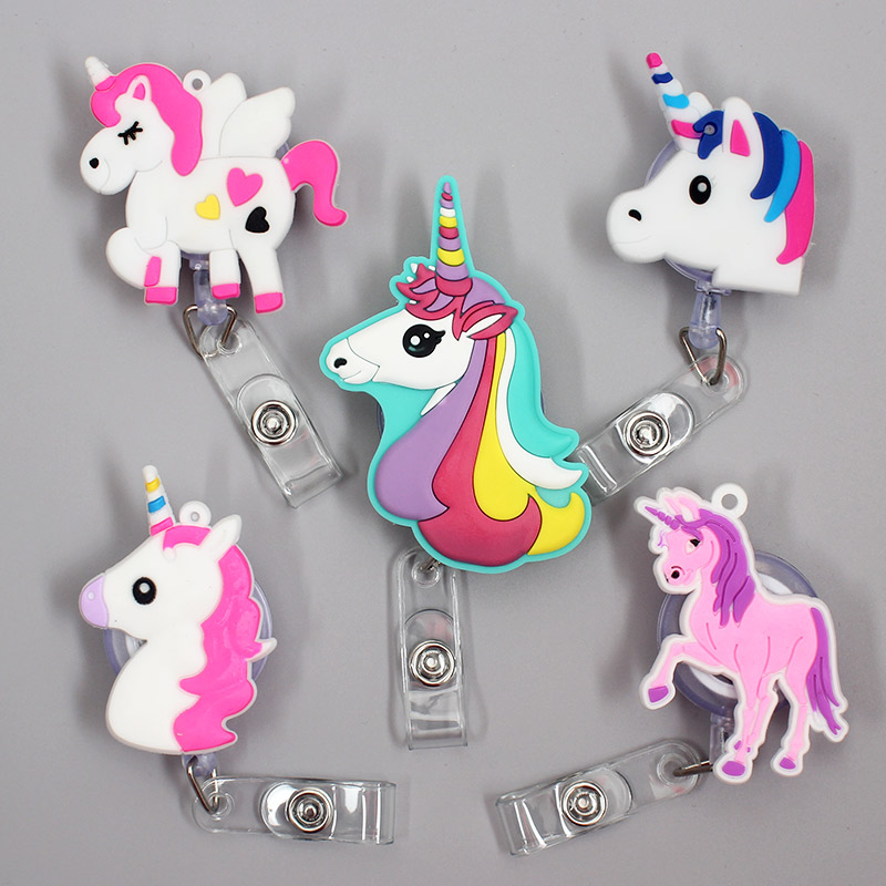 Creative Color Horse Retractable Badge Holder Reel Exhibition Enfermera Student Music Boys Name Cards Hospital Office Chest Card