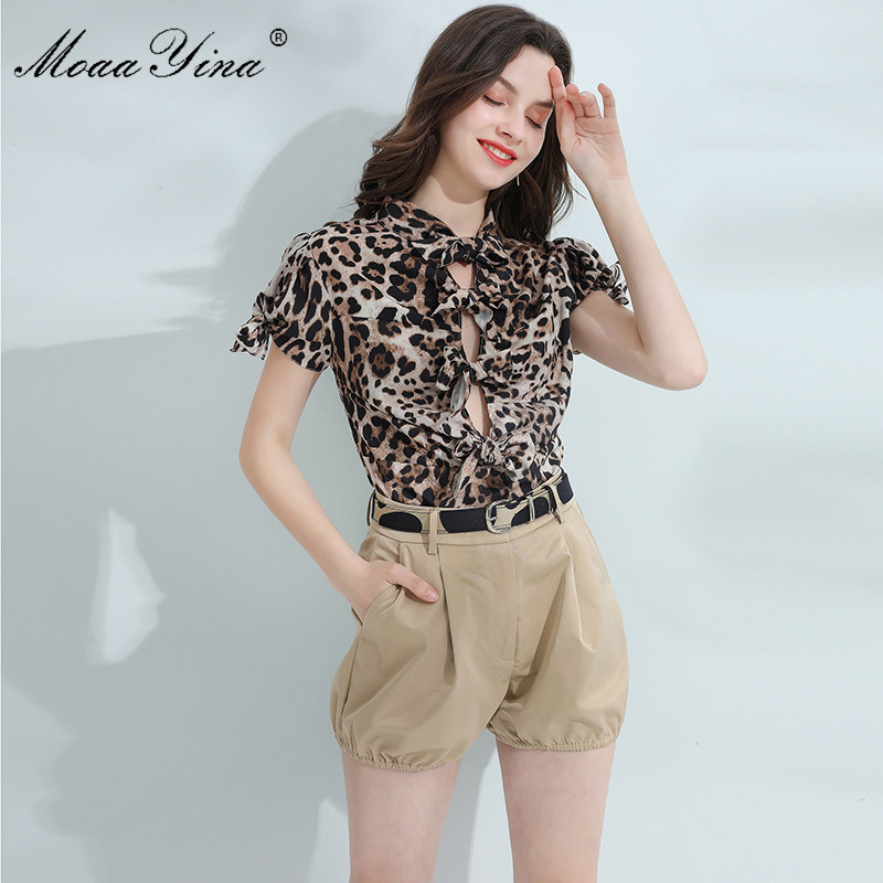 MoaaYina Fashion Designer Set Spring Summer Women Short sleeve Leopard print Bowknot Shirt Tops+Shorts Elegant Two-piece set