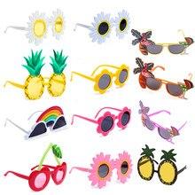 Praia havaí festa óculos de sol decorações tropicais óculos engraçados abacaxi flor óculos de sol verão luau havaiano festa evento