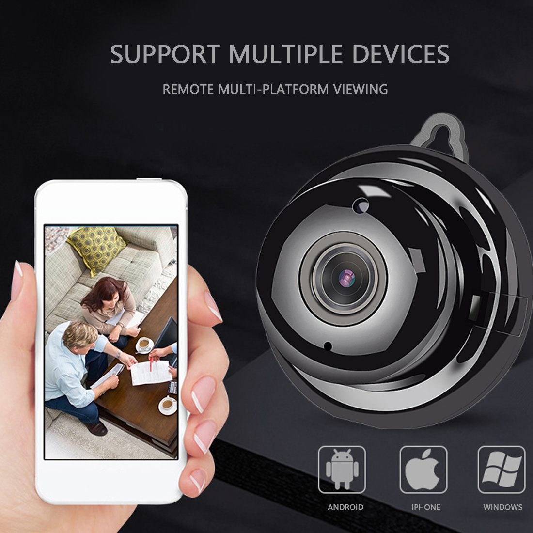1080P Wireless Mini WIFI 720P IP Camera Cloud Storage Infrared   Night Vision Motion Detection SD Card Slot Audio V380