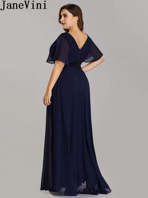 JaneVini Ladies Chiffon Long Mother of the Bride Dresses Plus Size Pleat Elegant Groom Mother Party Dress robe mere de la mariee 3