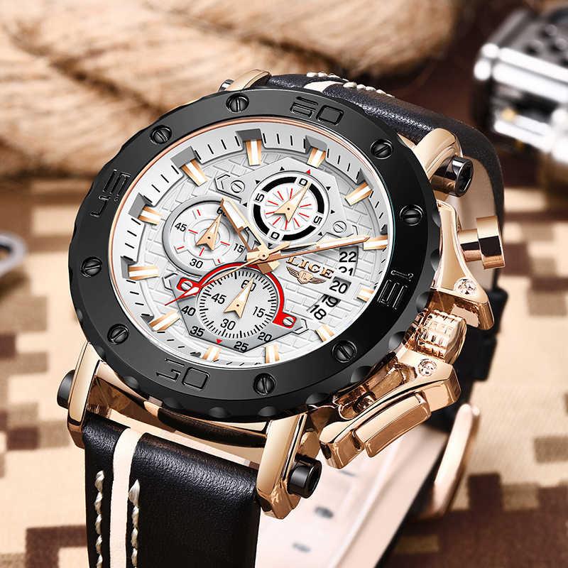 LIGE-relojes deportivos de cuero para hombre, con fecha de lujo, resistente al agua, de cuarzo, con cronógrafo, con caja, 2020