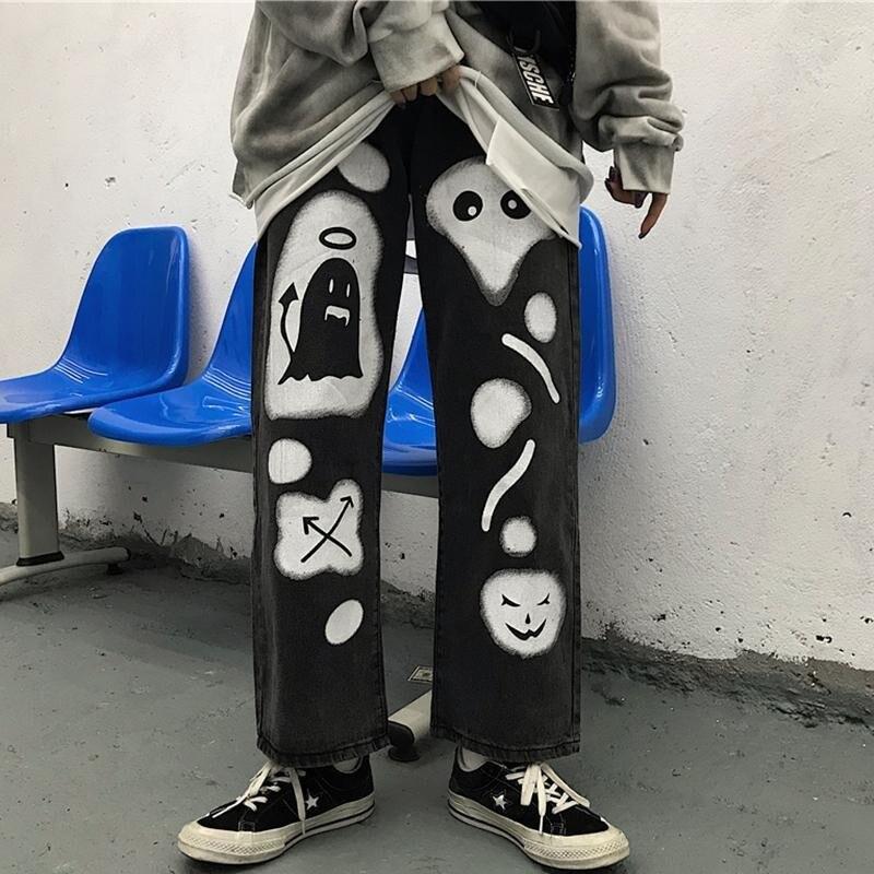 Korean ins ghost print wide leg men clthoes streetwear trousers joggers men pants loose sweatpants graffiti couple trouser S-XL