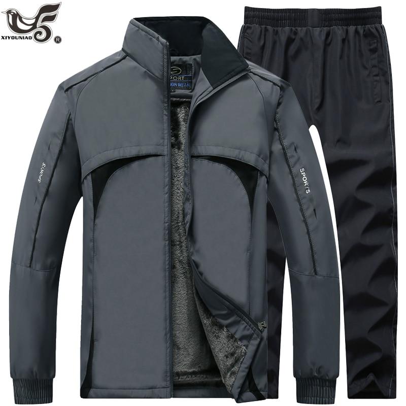 Winter Tracksuits Men Sets Thick Wool Liner Jackets+Pants Suit Outwear Men`s Hooded Sweatshirt Sportswear Set Male Sport Suits