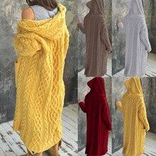 Cardigan Women Solid Color Long Sleeve Braid Knit Cardigan Hooded Sweater Coat Overcoat Loose Ladies Sweaters Coat Plus Size