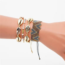 Go2boho MIYUKI Heart Bracelet Pulseras Mujer Moda 2019 Summer Beach Gold Shell Bracelet For Women Boho Chic Jewelry Handmade Diy chic heart geometric bracelet for women