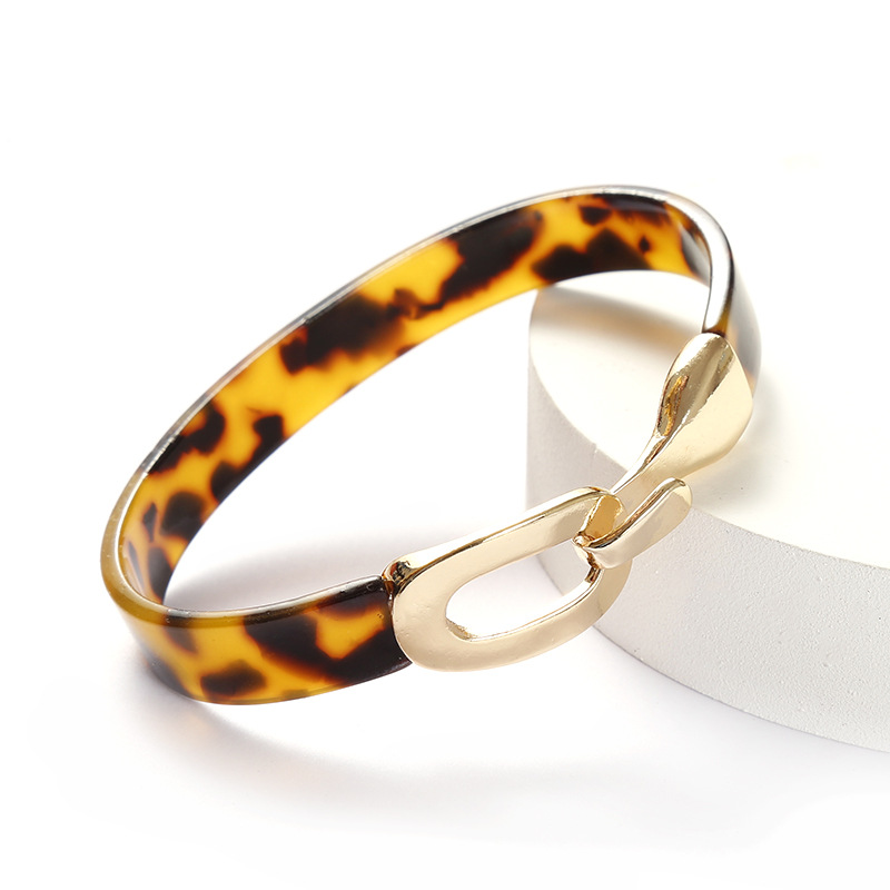 New Europe And America Fashion Acrylic Leopard Black Red Bangles Alloy Buckle For Women Girl Alloy Acrylic Bracelets Jewelry2020|Bangles|   - AliExpress